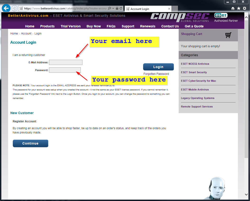 How to Login to renew your software - Better Antivirus - ESET
