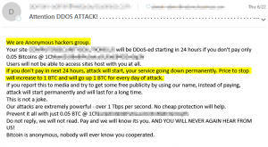 The DDOS for Bitcoin Email Example we received.