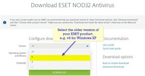 How to Download an old ESET version