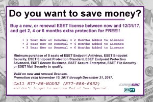 This is your end of year Promotion from ESET - get 2, 4 or 6 months free on both New and Renewal licenses.